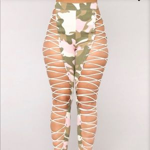 Up To Your Imagination Lace Up Camo Pants